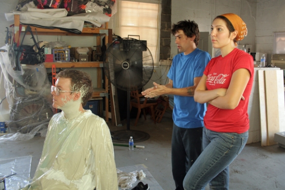 Jeremiah Teutsch, Chad Dawkins and Angela between shots