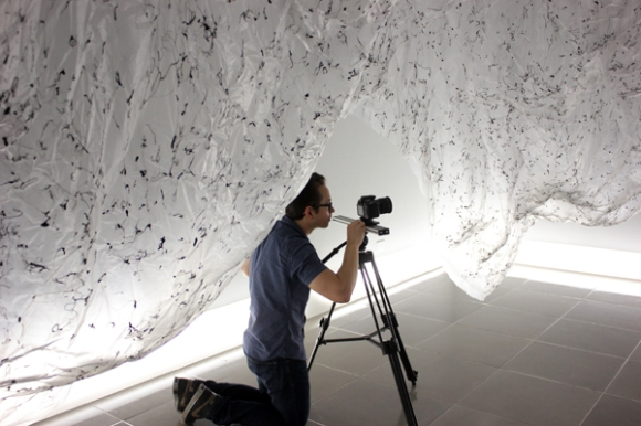 Mark Walley films Yasuaki Onishi's Reverse of Volume - Photo by Angela Walley